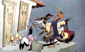 цыплята, сорока, заяц, утка и еж у домика солнышка