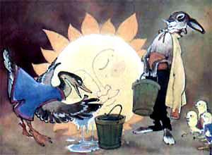 утка - давай солнце водой умывать. А сорока - полотенцем вытирать