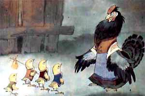 цыплята и курица