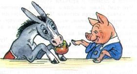 упрямый ослик осел ест яблоко поросенок