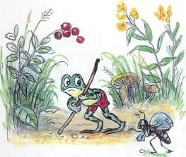 лягушонок, лягушка, муравей, хромает