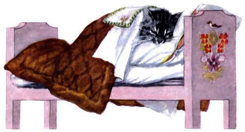 котенок лежит в кроватке заболел