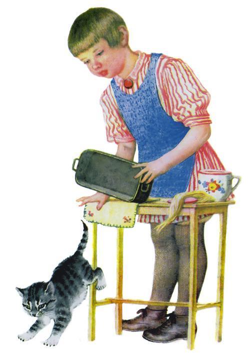 девочка и котенок