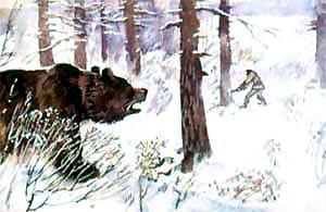Тойво рубит рядом медведь