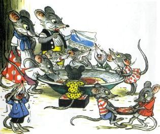 мыши у тарелки мышата