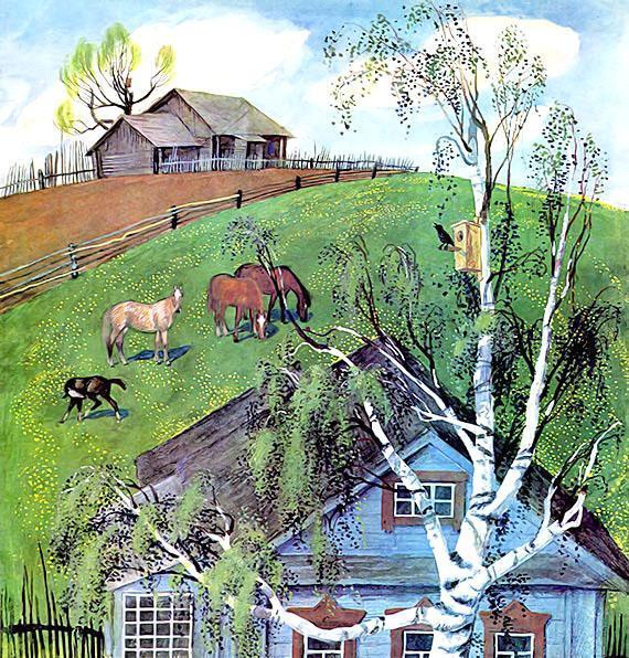 скворец поет сидя на дереве весна село природа