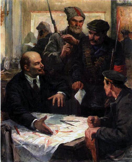 Владимир Ильич Ленин и революционные матросы и рабочие