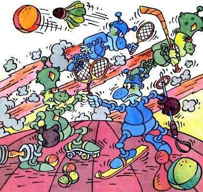 инопланетяне играют в бадминтон