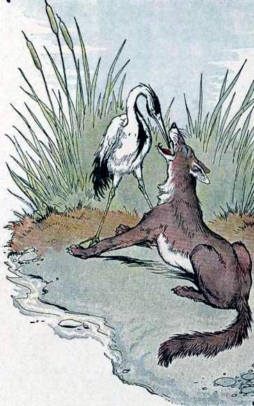 Волк и цапля (Волк и журавль)