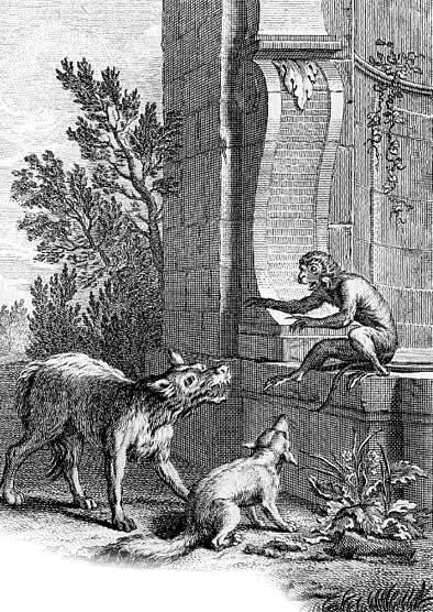 Волк и лиса перед судом обезьяны