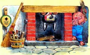 волк лезет в камин поросенок с палкой
