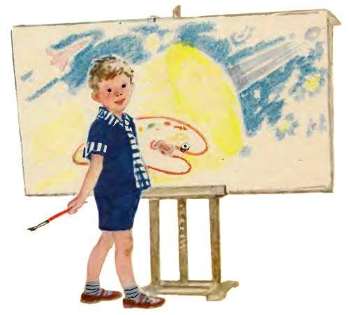 мальчик художник перед холстом