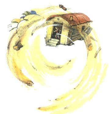 ураган уносит дом внутри Элли с Тотошкой