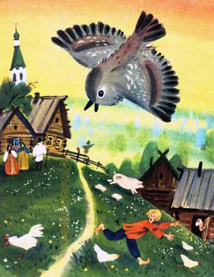 Воробей летит над селом