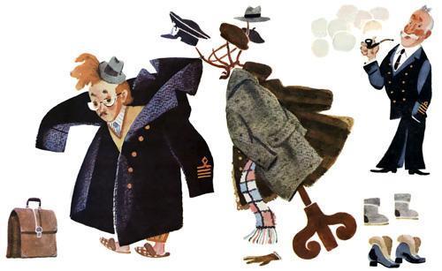 человек рассеянный одевает пальто с вешалкой
