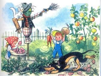 дети мальчик и девочка в огороде страшила собака кошка яблоня картошка