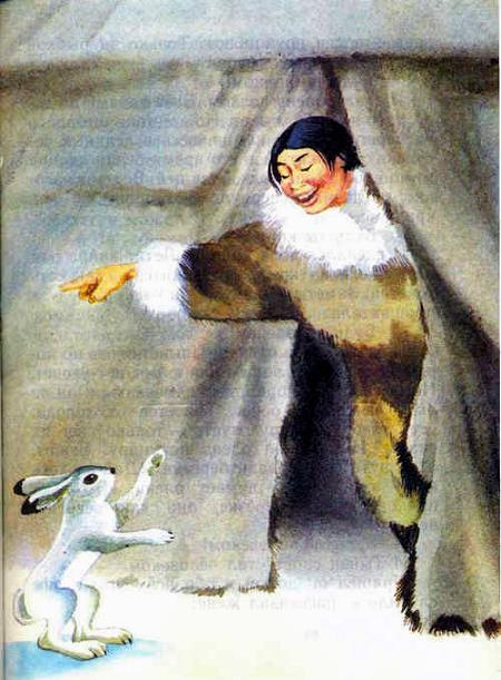 девушка и белый заяц