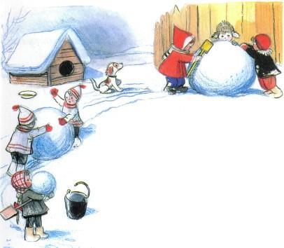 Ёлка дети лепят снеговика на улице снег