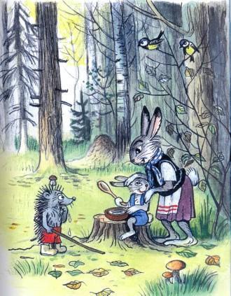 ежик зайченок и мама зайчиха в лесу