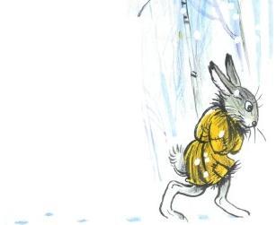 заяц в зимнем лесу в одиночестве