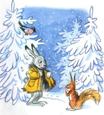 заяц и белка взимнем лесу снег