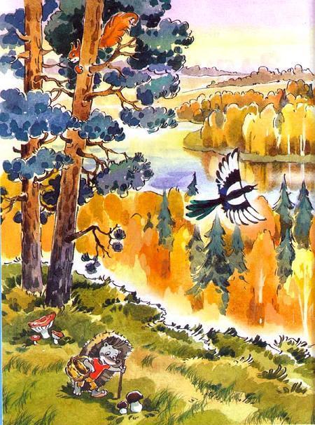 ежик собирает грибы в лесу