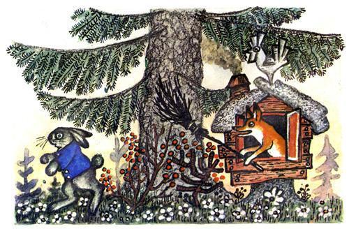 лиса выгнала Зайца из домика