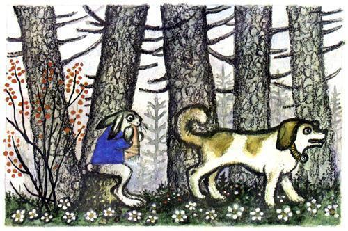 Заяц и пес идут выгонять лису