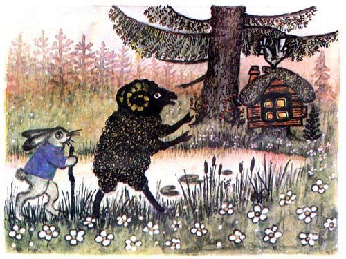 Заяц и баран идут выгонять лису