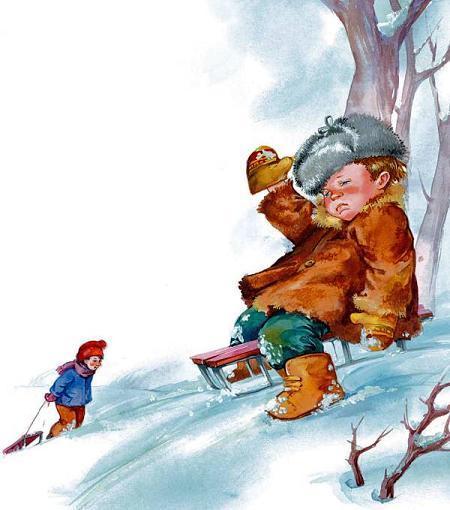 мальчик катается на санках