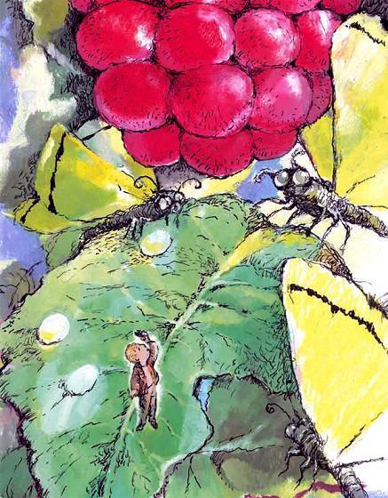 мальчик уменьшился стоит на листе малины