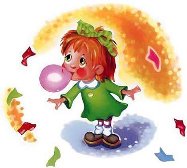 девочка жует жвательную резинку надувает шарик
