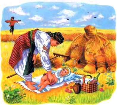 мама и малыш на поле во время жатвы