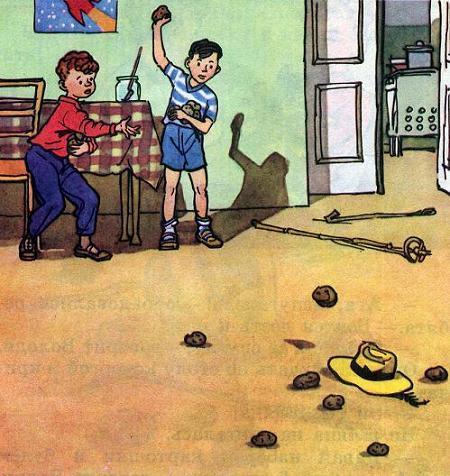Вовка и Вадик кидают картошкой в живую шляпу