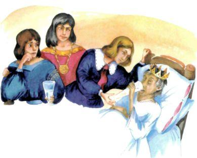 три сына у кровати умирающего отца короля