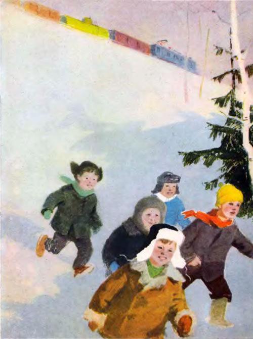 дети бегут по снегу