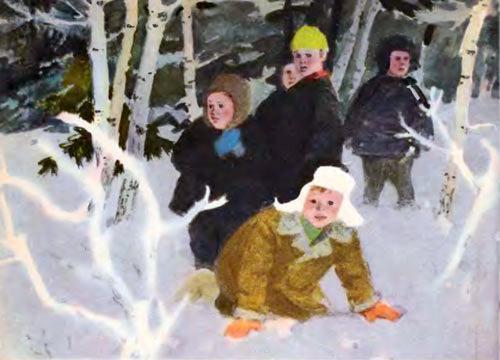 дети в заснеженом лесу