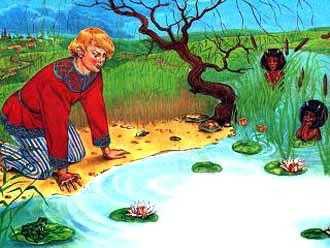 Однажды пошёл мужик в лес дрова рубить. Подошёл к озеру, сел на берег и нечаянно уронил топор в воду