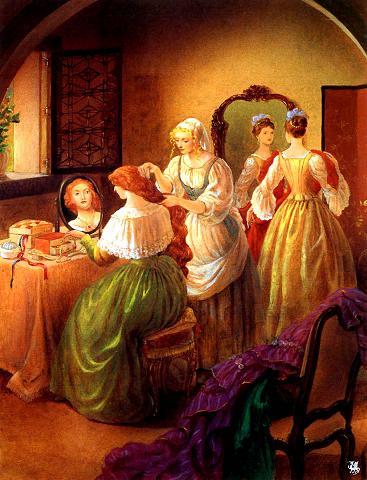 Золушка помогает сестрам собраться на бал прически